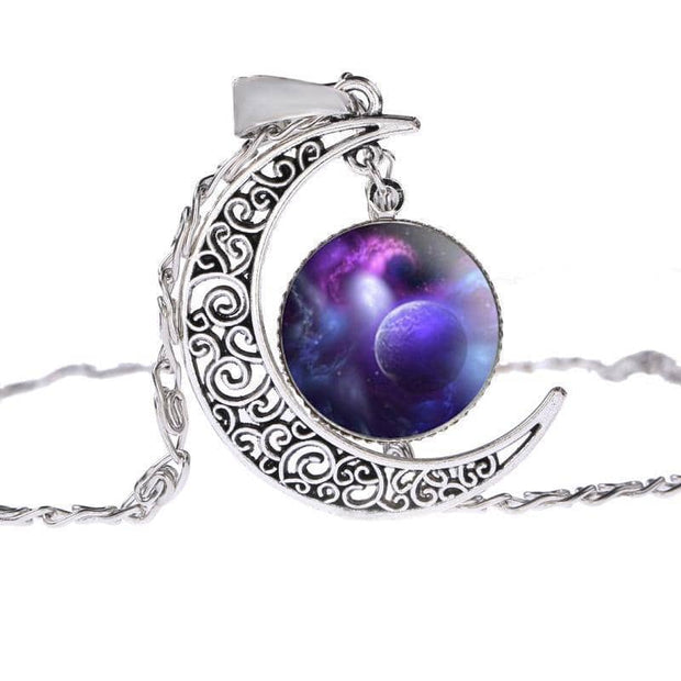 Half Moon Galaxy Silver Plated Necklace with 8 Colorful Variations Free Shipping From the USA (3957282242654)