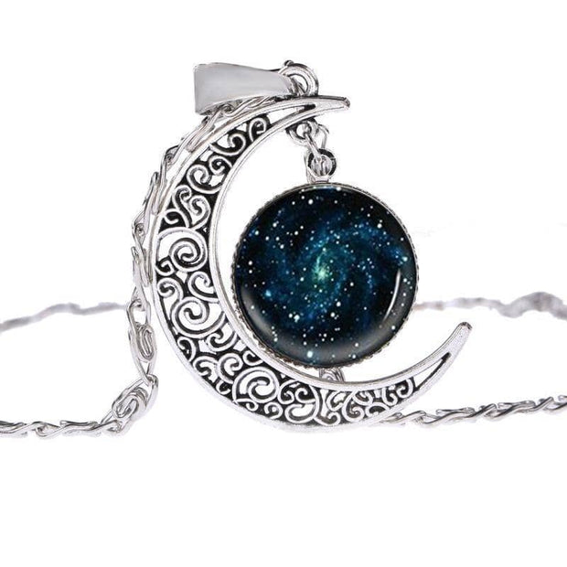 Half Moon Galaxy Silver Plated Necklace with 8 Colorful Variations Free Shipping From the USA