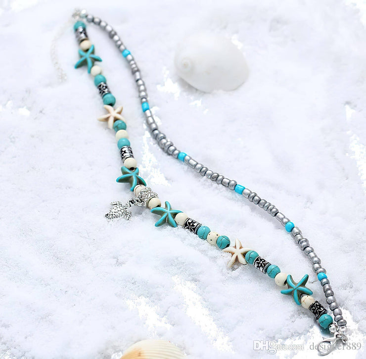 Boho Style Starfish Turtle Anklet Free shipping from the USA (2427701362788)