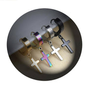 Stainless Steel Hoop Pierced Cross Earrings in 4 Styles Free Shipping from the USA (3962611040350)