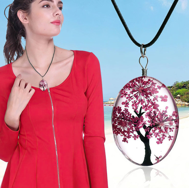 Tree of Life Dried Flower Glass Oval Terrarium Necklace Red (4397967573086)