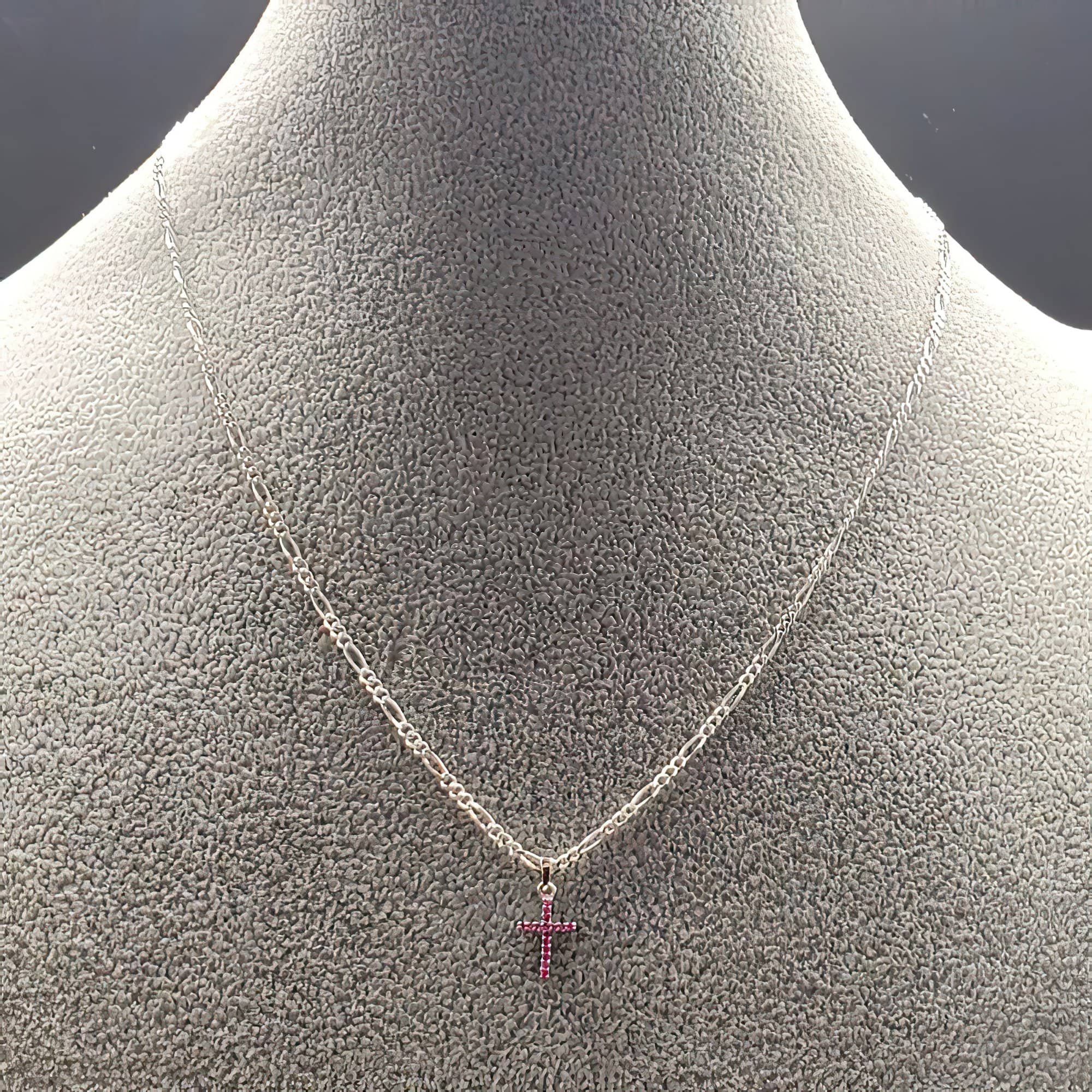 Ruby CZ Solid 925 Cross on a Figaro Cahin (4783578153054)