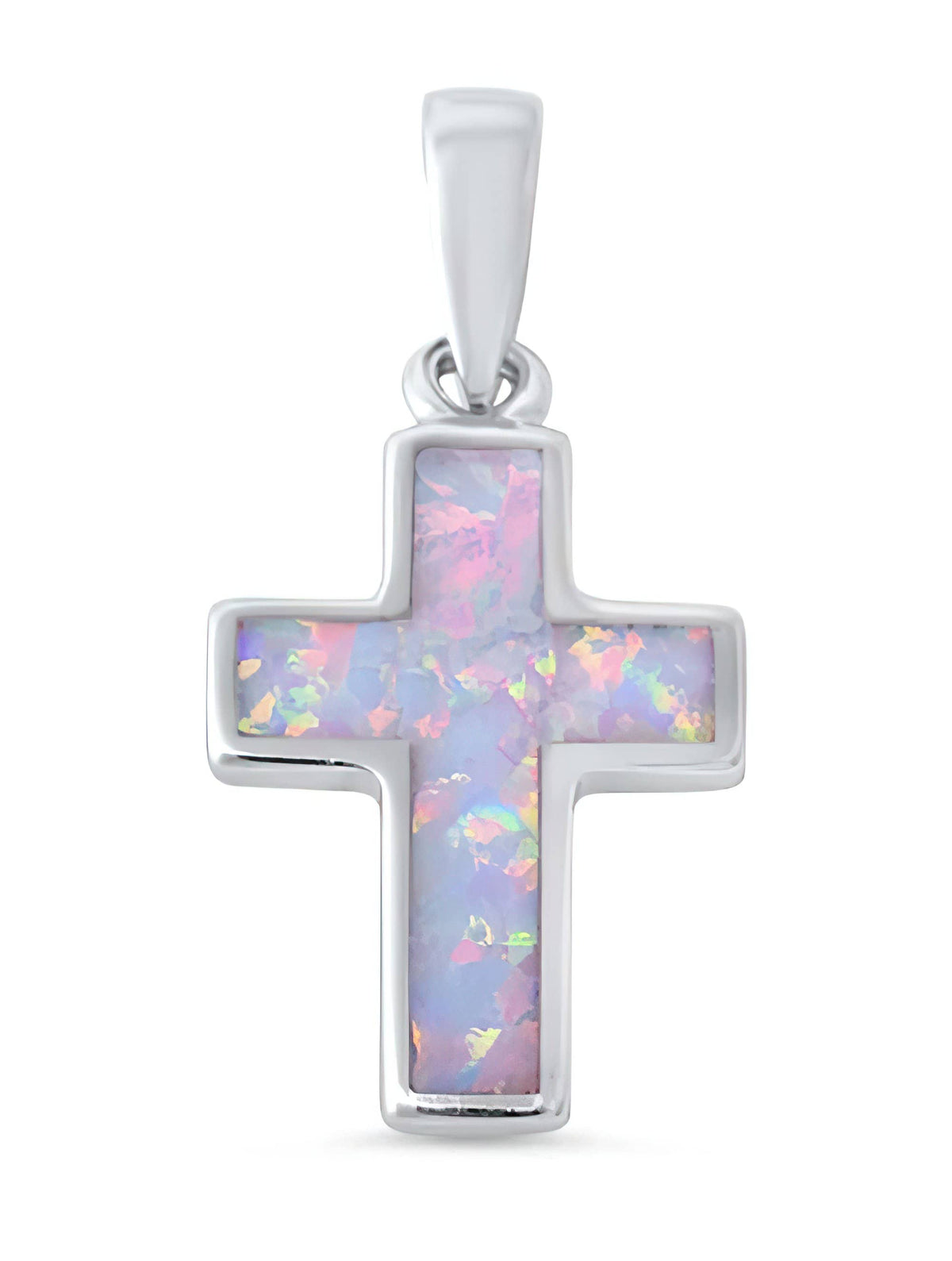 White Opal Cross with .925 SOLID Sterling Silver Pendant on Italian Figaro or Mariner 925 SOLID Sterling Chain (4717729185886)