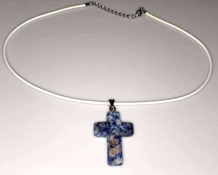 Sodalite Gemstone Cross Necklace 1.6 inch Cross Free Shipping (4377208750174)