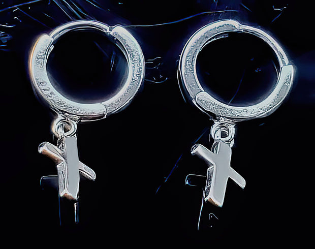 Cross Dangle Earrings SOLID Sterling Silver (4633515524190)