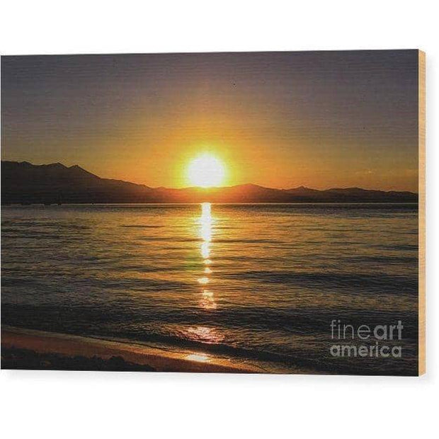 "Wood Print ""Sunset Lake 1"""