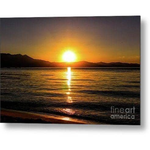 Metal Print Sunset Lake 1 10.000 x 6.625 Metal Print
