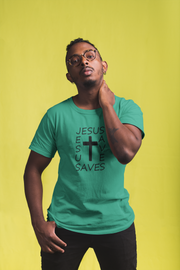 "Bella & Canvas 3001 T-Shirt ""Jesus Saves"" in 14 Colors and 7 Sizes"