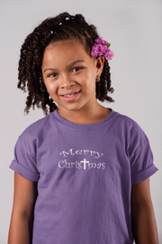 "Girls Princess Tee ""Merry Christmas"" in 7 Colors and 5 Sizes"