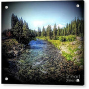 Acrylic Print Truckee River 8.000 x 7.125 / Aluminum Mounting Posts Acrylic Print