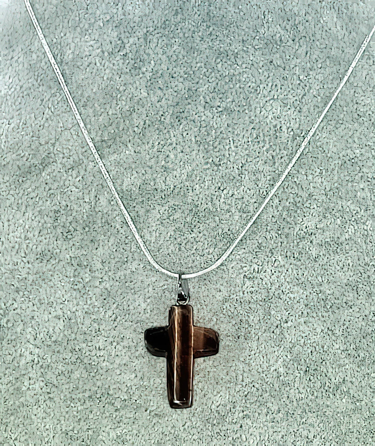 Tigers Eye Gemstone Cross Necklace 1 inch Cross Free Shipping (4578205106270)