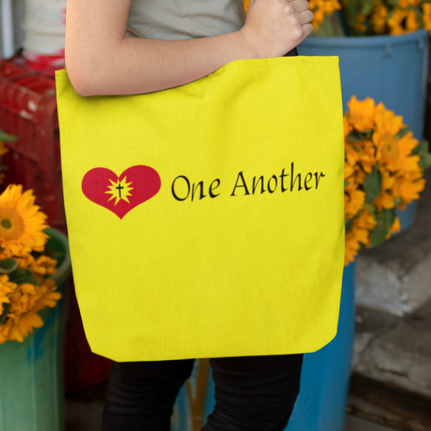 "AOP Tote Bag "" Love One Another"""" in 3 Sizes"