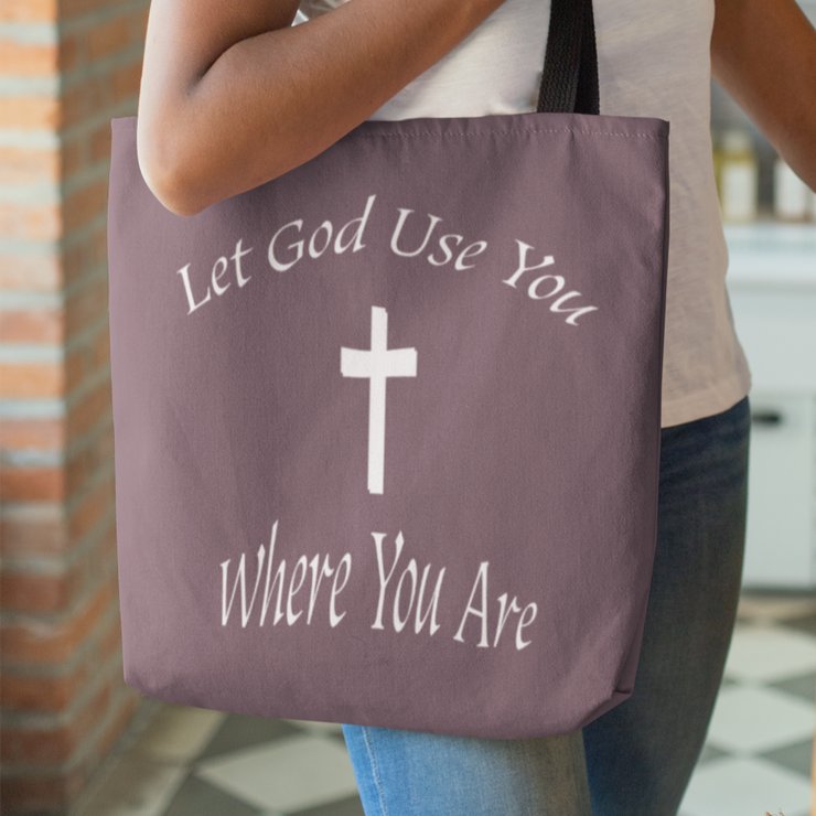 "AOP Tote Bag ""Let God Use You"" in 3 Sizes (3931393949790)"