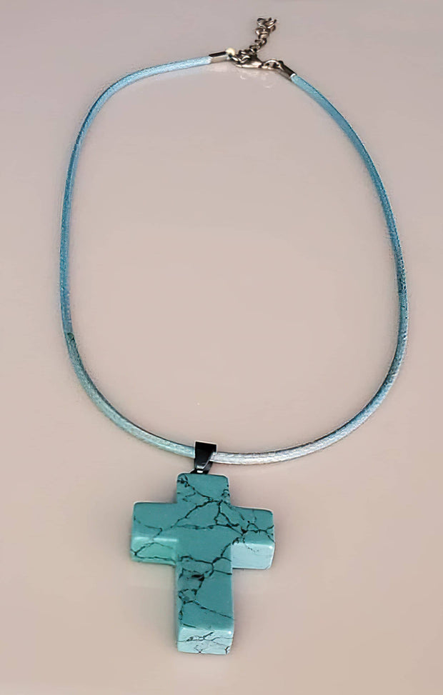 Turquoise Gemstone Cross Necklace 1.6 inch Cross Free Shipping
