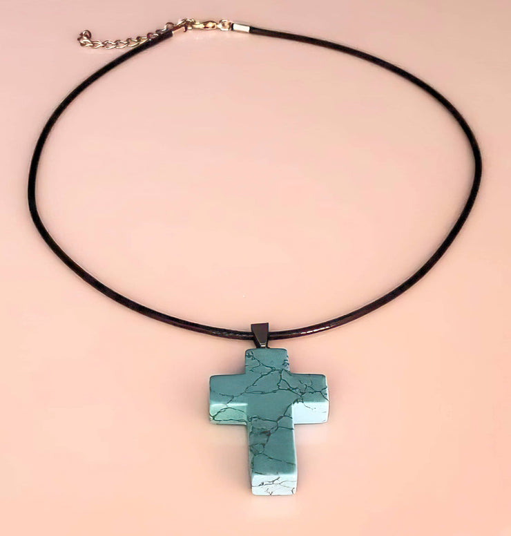 Turquoise Gemstone Cross Necklace 1.6 inch Cross Free Shipping (4377064046686)