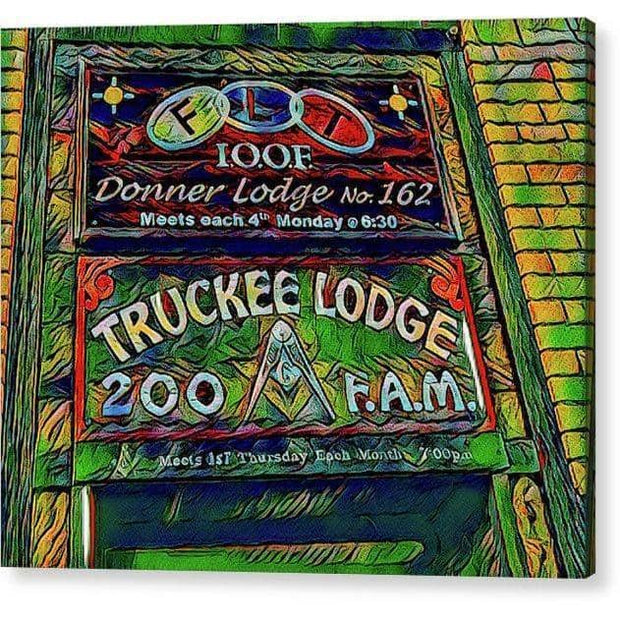 "Acrylic Print ""Truckee Masonic Lodge"" (Green theme)"