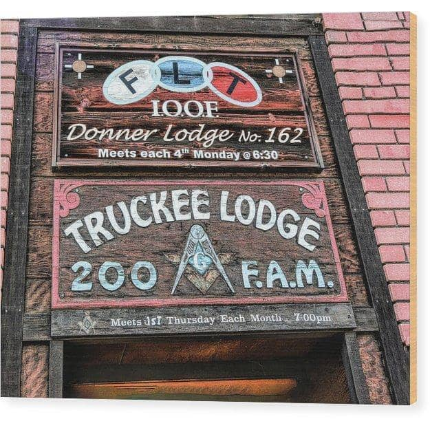 "Wood Print ""Truckee Masonic Lodge"""