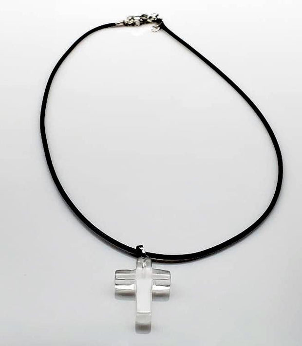 White Quartz Gemstone Cross Rope Chain Necklace Free Shipping from the USA (4647129251934)