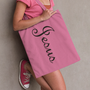 "AOP Tote Bag ""Jesus"" Printed on both Sides Pink with a Black Handle in 3 Sizes"