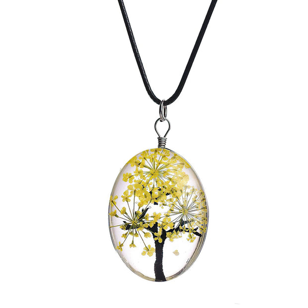 Tree of Life Dried Flower Glass Oval Terrarium Necklace in Yellow (4397948731486)