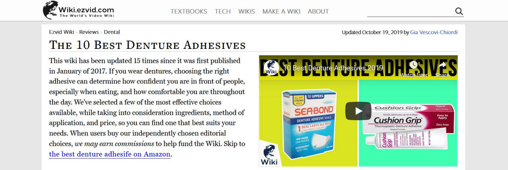 Cushion Grip has achieved a rank of #3 at Ezvid Wiki of 2019's best denture adhesives.
