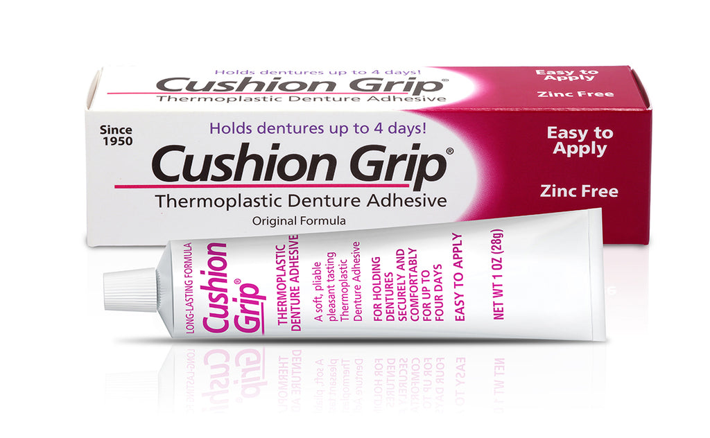 Cushion Grip Thermoplastic Denture Adhesive 1 OZ (28g) - 100% Waterproof and Zinc free