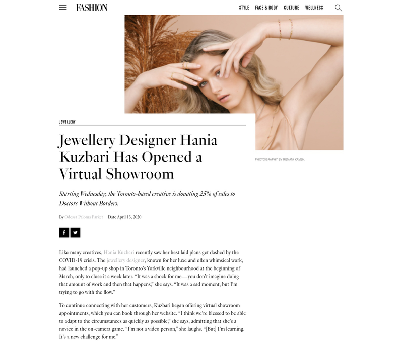 FASHION: Jewellery Designer Hania Kuzbari Has Opened a Virtual Showroom