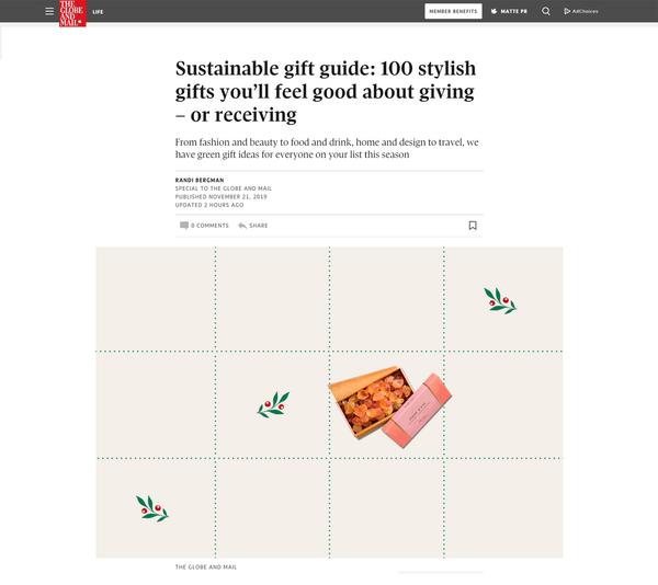 The Globe and Mail Online: Sustainable Gift Guide