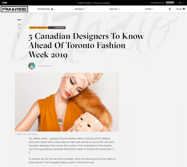 Much Far & Wide: 5 Canadian Designers To Know Ahead of Toronto Fashion Week 2019