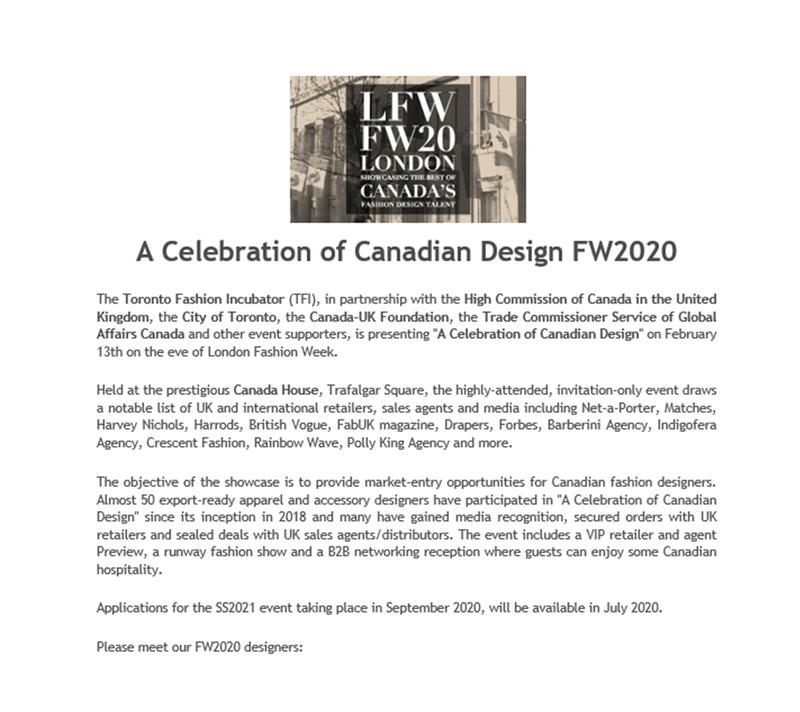 TFI: A Celebration of Canadian Design FW2020