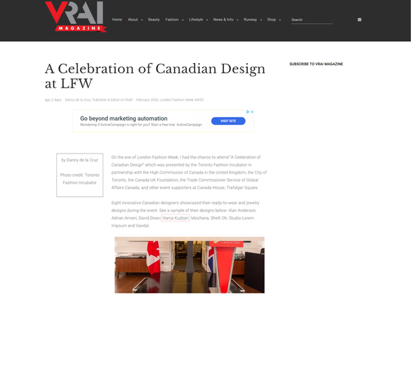 Vrai Magazine: A Celebration of Canadian Design at LFW