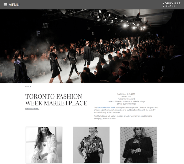 Yorkville Village: Toronto Fashion Week Marketplace