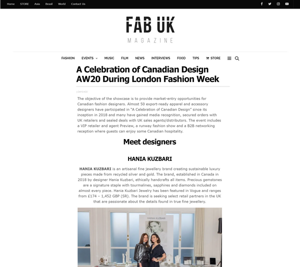 Fab UK: A Celebration of Canadian Design AW20 During London Fashion Week