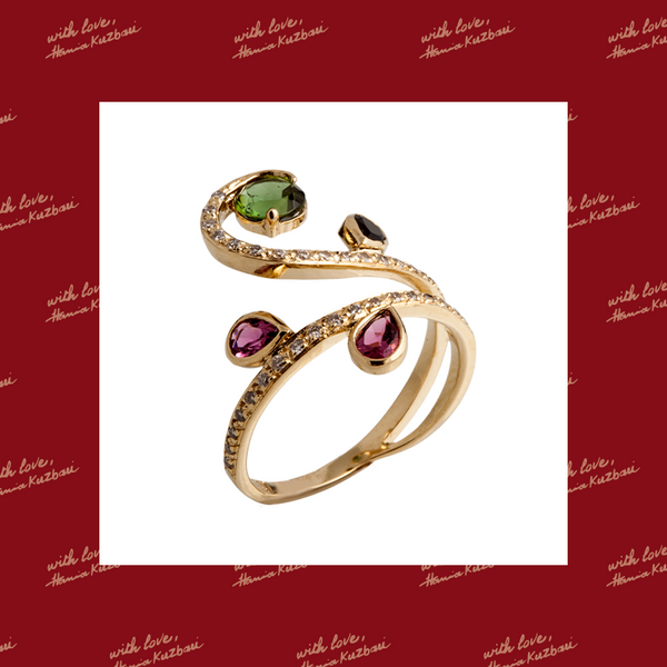 Arabesque Scrolling Wrap Ring with Multicolored Tourmalines and Diamonds
