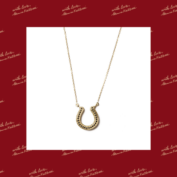 Horseshoe Necklace with Black Diamonds