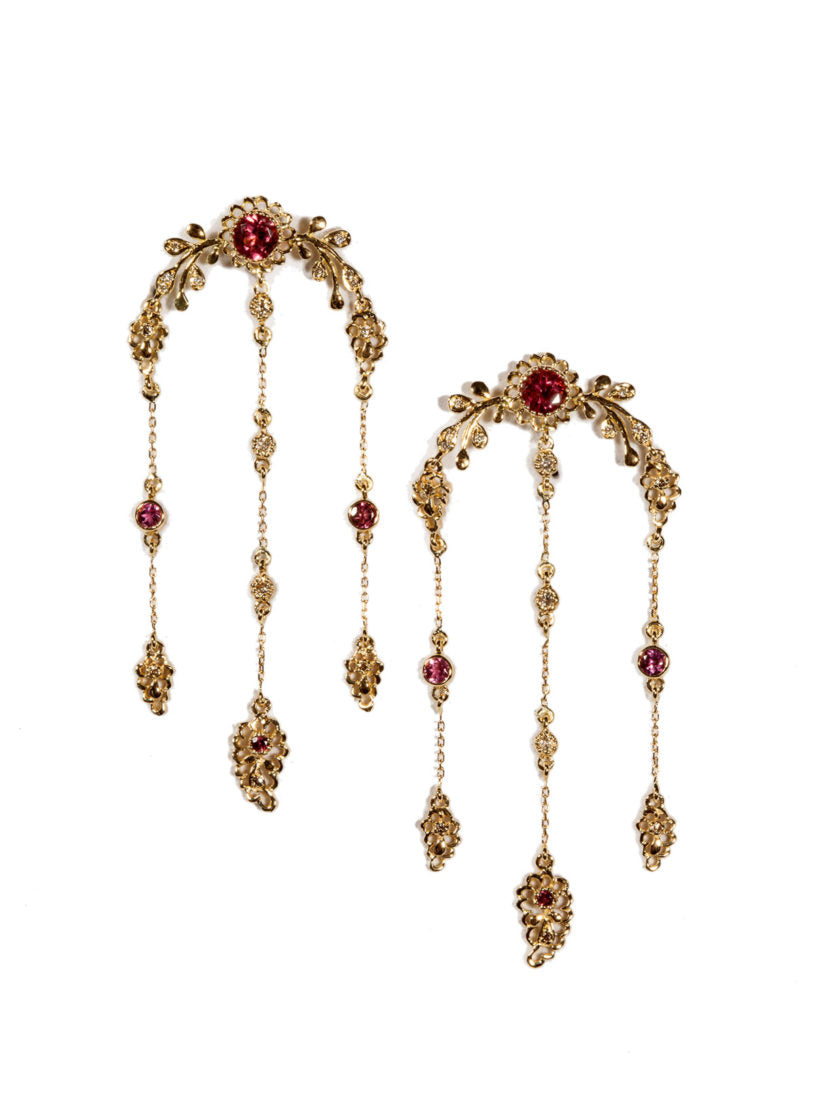 Aghabani Earrings with Pink Tourmalines, Diamonds and Floral Motif