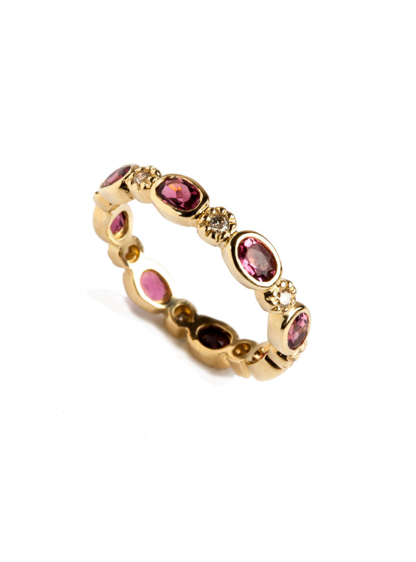 Freestyle Ring with Oval Pink Tourmalines and Champagne Diamonds