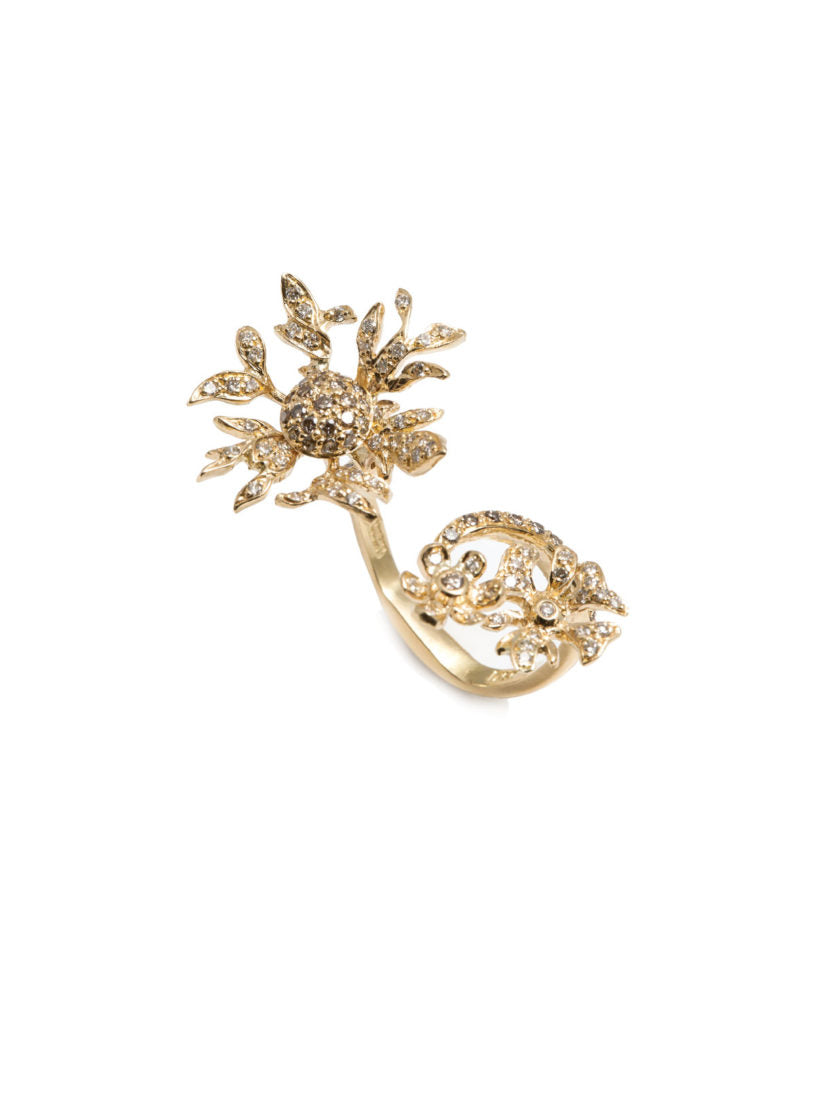 Levant Floral Ring with Diamonds