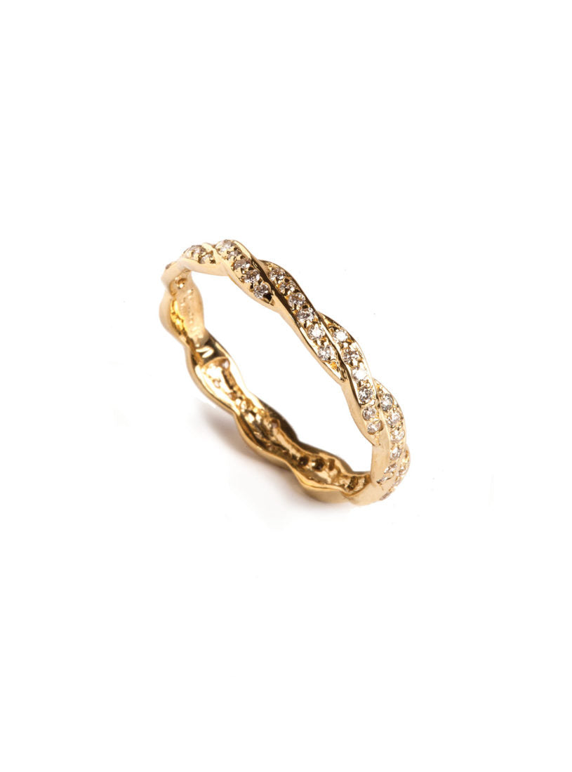 Levant Braided Ring with Diamonds