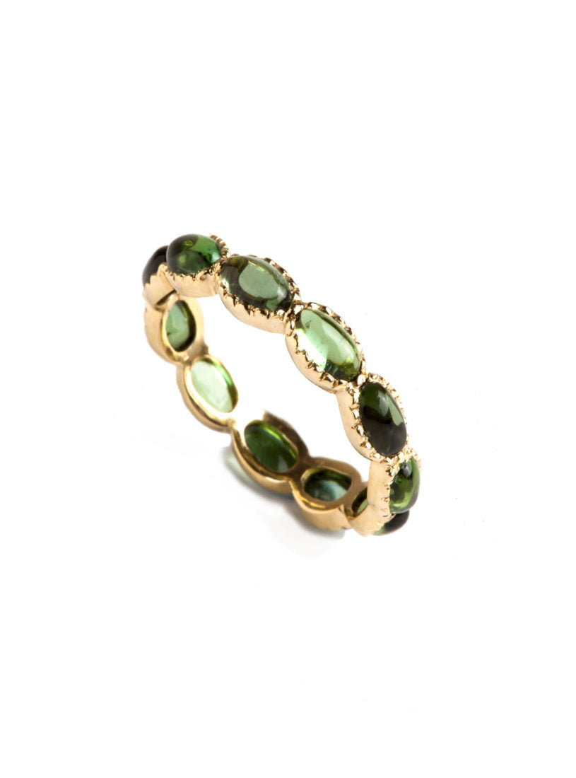 Freestyle Ring with Oval Cabochon Green Tourmalines and Millgrain Texture