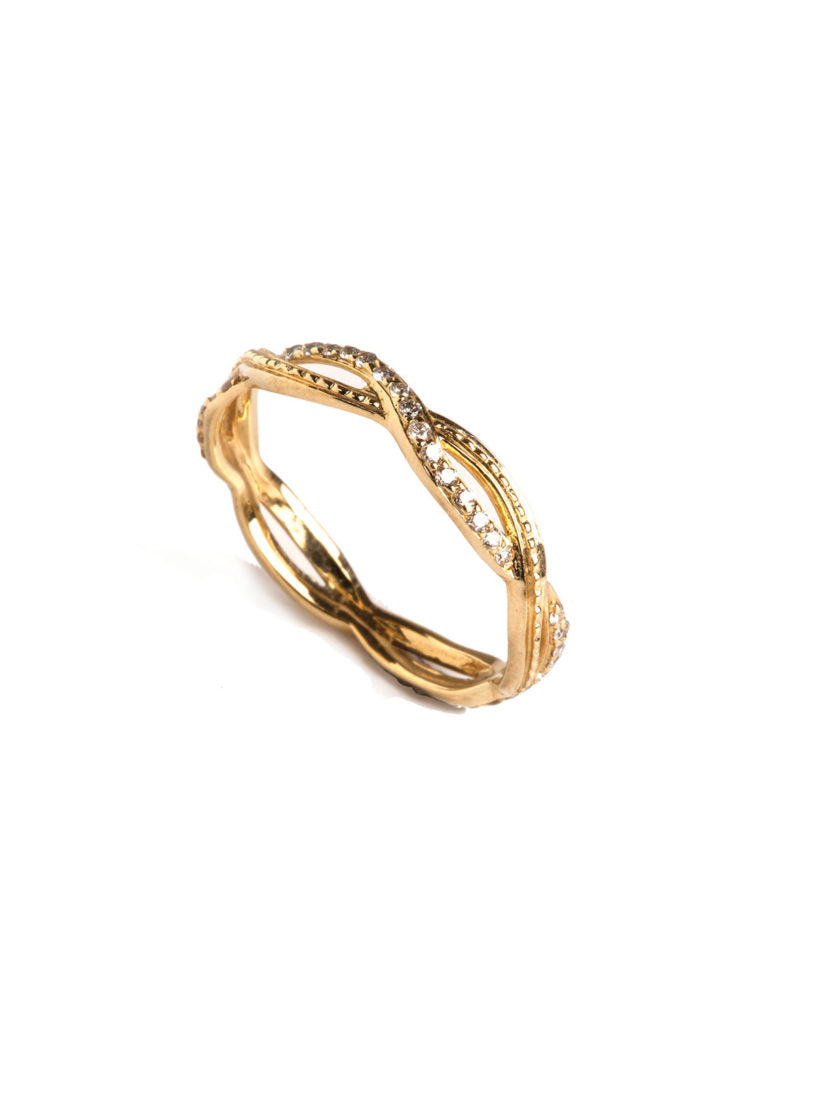 Levant Twisted Ring with Diamonds
