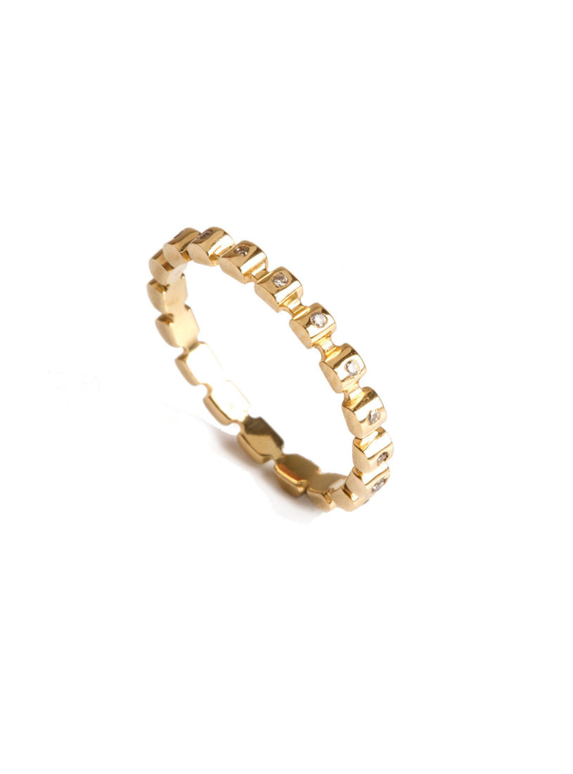 Levant Angular Beaded Ring with Diamonds
