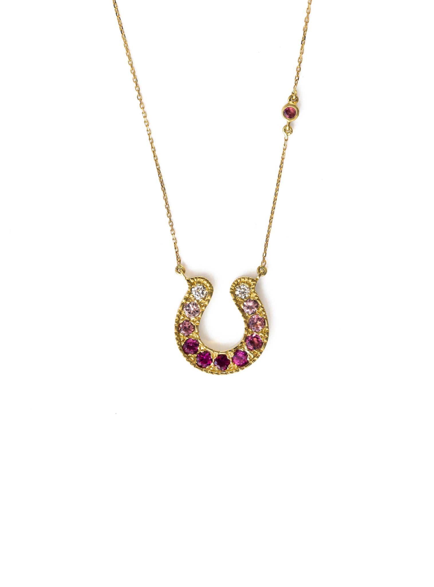 Horseshoe Necklace with Pink Tourmaline and Diamond Ombre