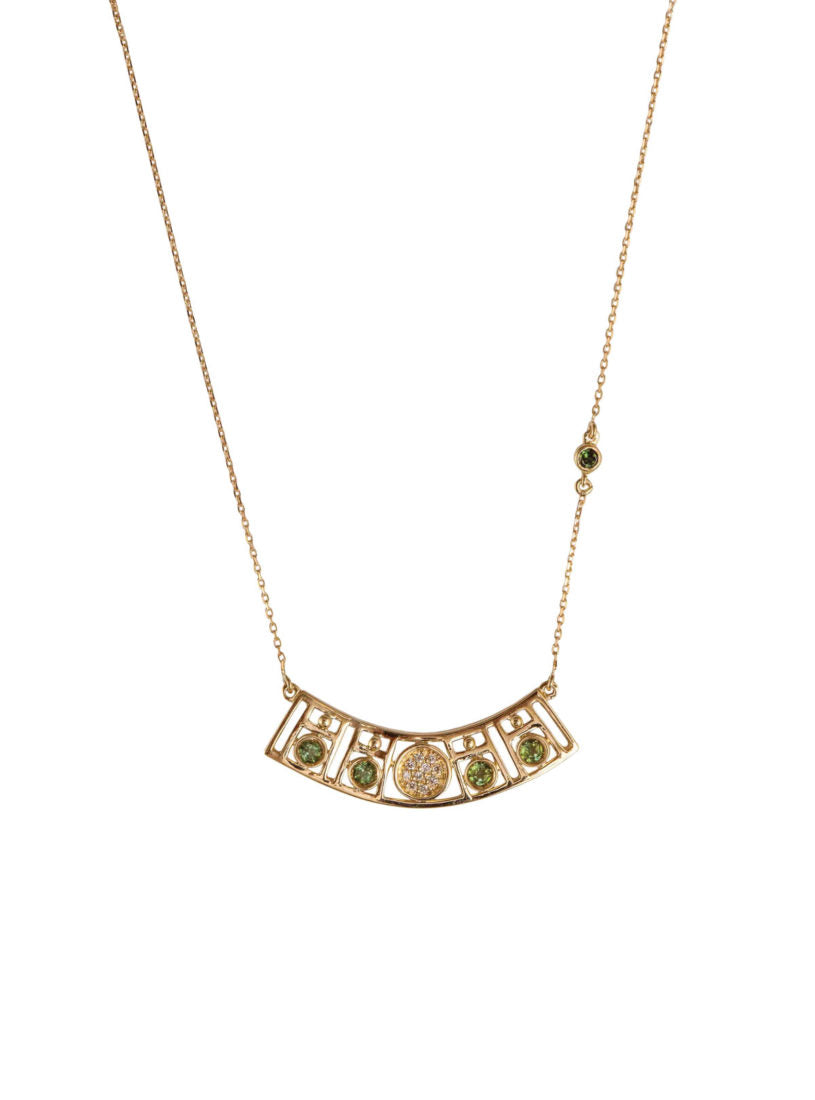 Levant Geometric Curved Necklace with Diamonds and Green Tourmalines