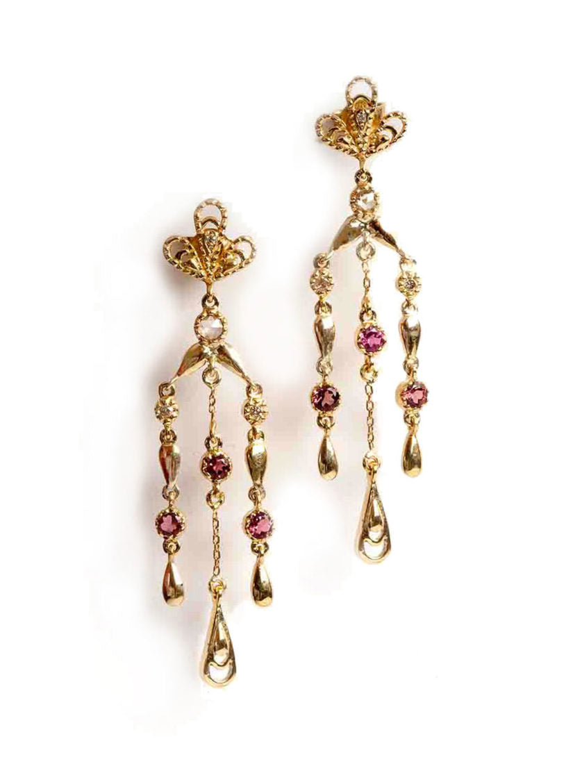 Aghabani Earrings with Pink Tourmalines, Diamonds and Filigree