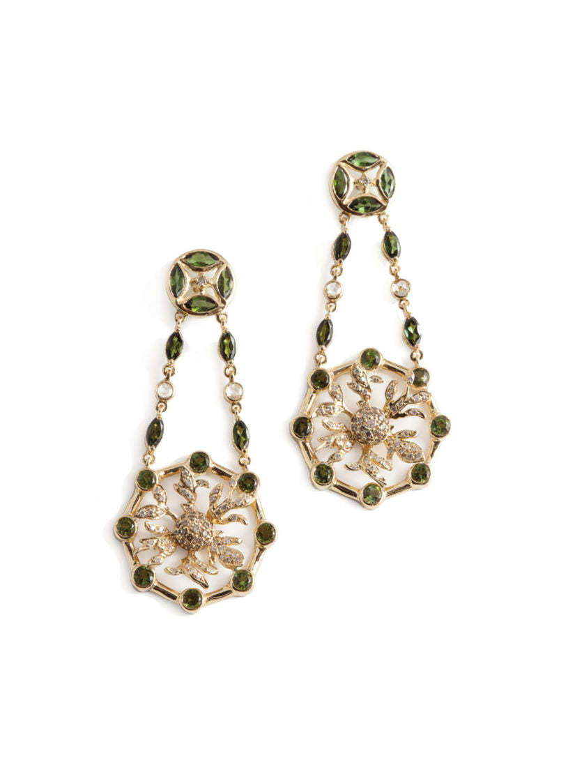 Levant Rondel Earrings with Diamonds and Green Tourmalines