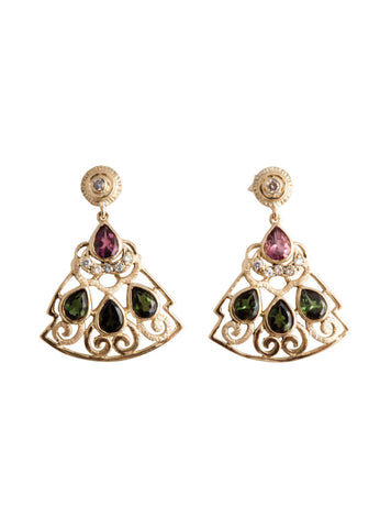 Levant Filigree Earrings with Diamonds and Multicolored Tourmalines