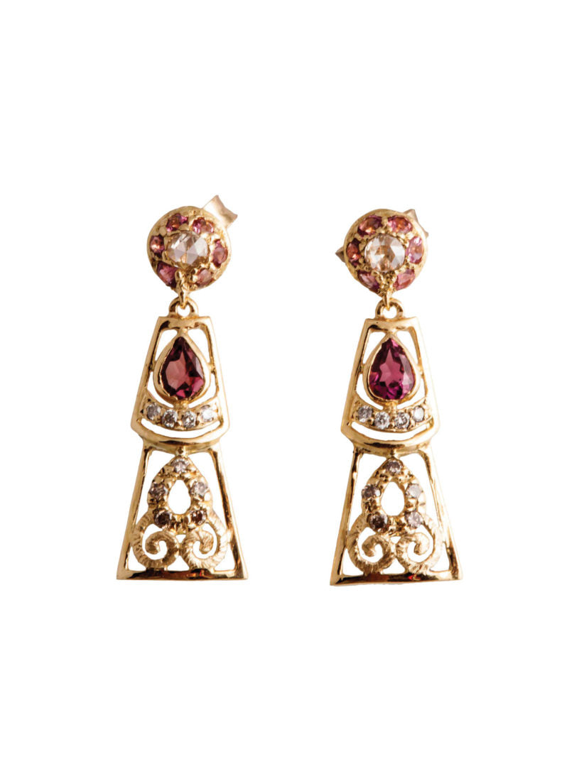 Levant Filigree Earrings with Diamonds and Pink Tourmalines
