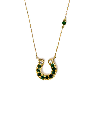 Horseshoe Necklace with Green Tourmaline and Diamond Ombre