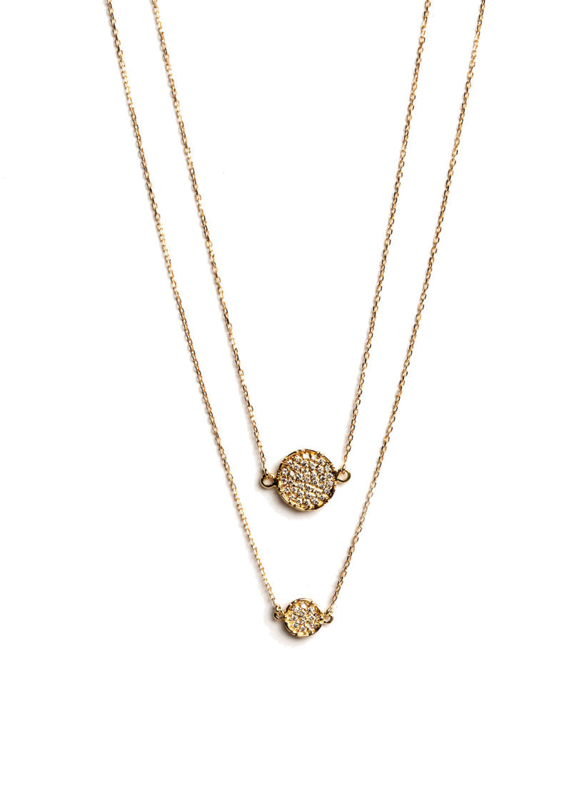 Levant Double Medallion Necklace with Diamonds